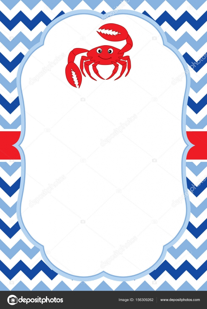 vector card template with a cute crab on chevron background vector