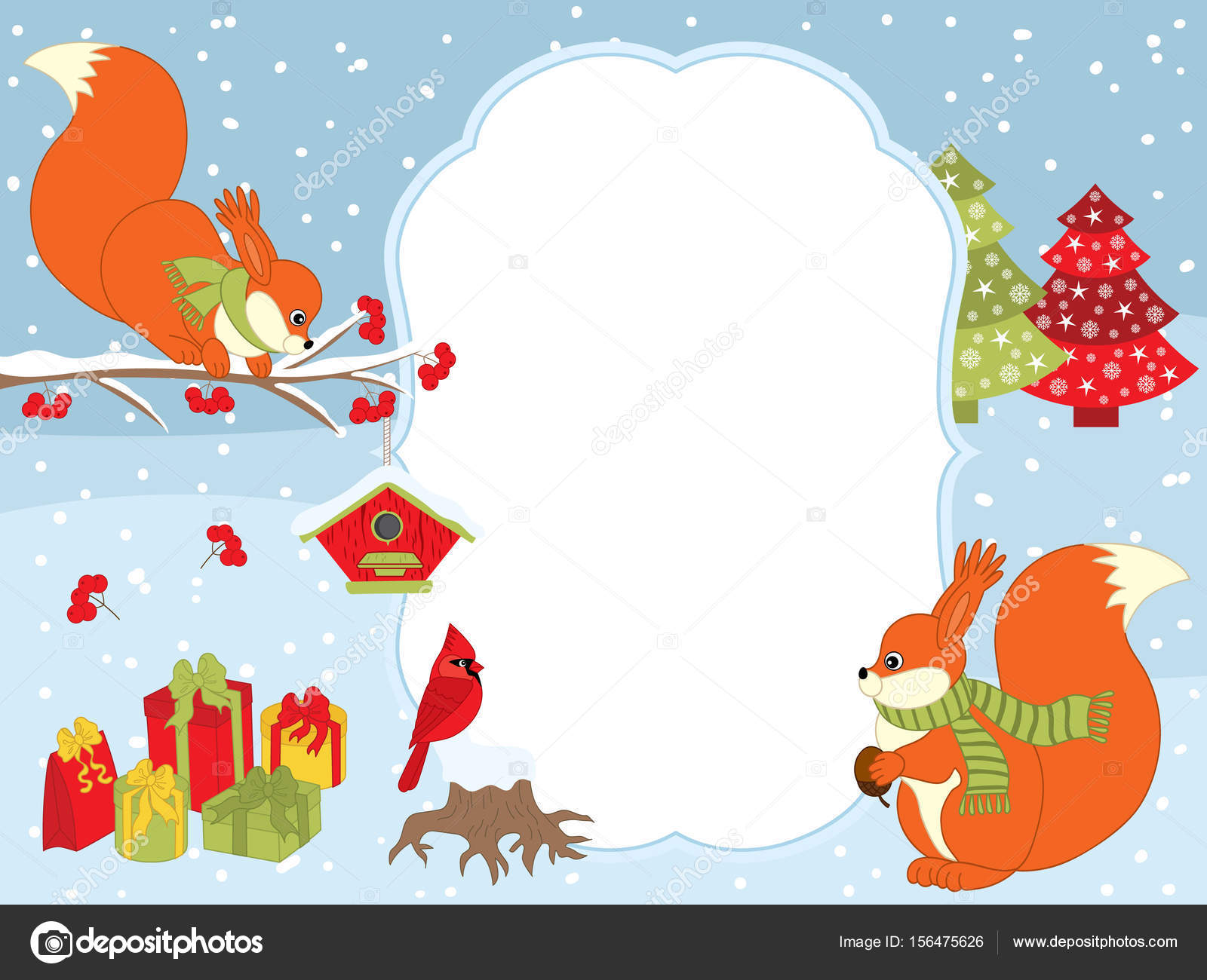 vector christmas and new year card template with squirrels cardinal gift boxes and birdhouses