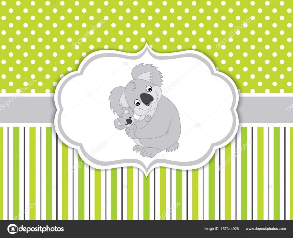Vector Tarjeta plantilla con dibujos animados de Koalas. Oso Koala ...