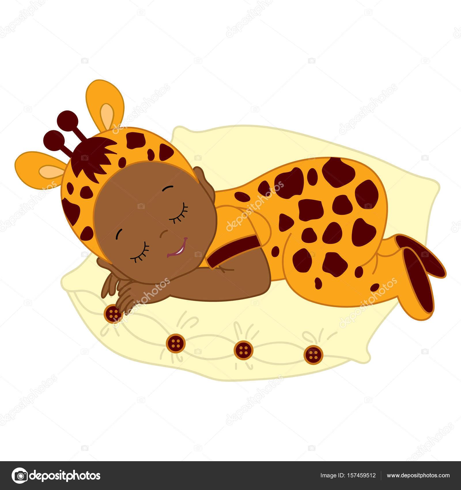 Vector African American Cute Baby in Giraffe Costume Sleeping. u2014 Stock Vector  sc 1 st  Depositphotos & Vector African American Cute Baby in Giraffe Costume Sleeping ...