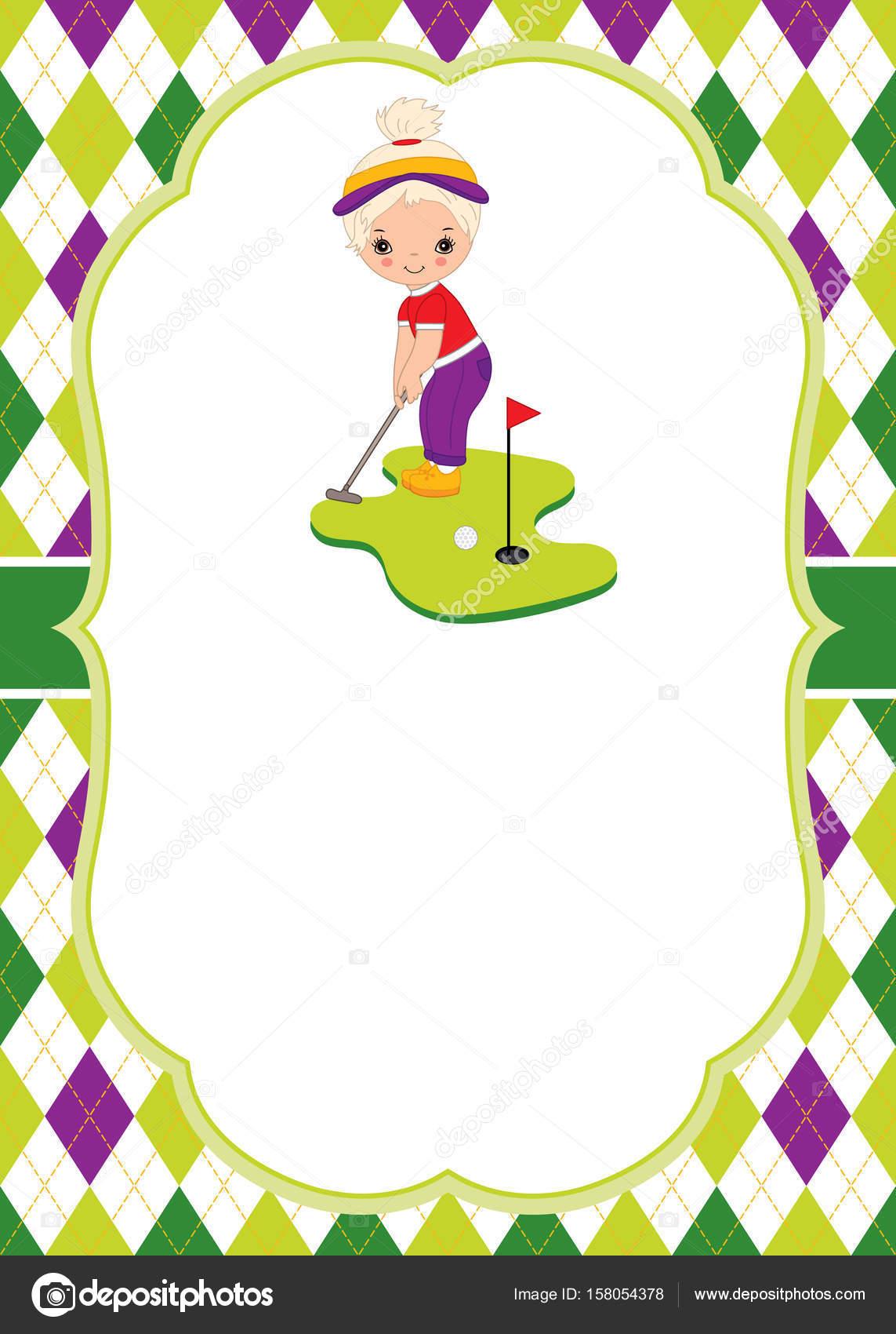 Vektor-Kartenvorlage mit kleinen Mädchen spielen Golf. Argyle ...
