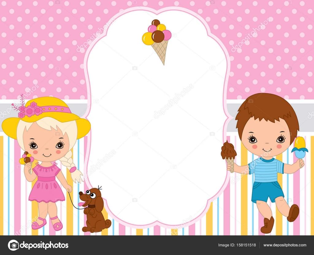 Vector Tarjeta plantilla con niños comiendo helado. Plantilla de ...