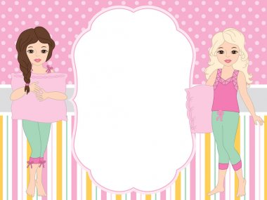 Vector Card Template with Girls in Pyjamas. Vector Girls in Pajamas.