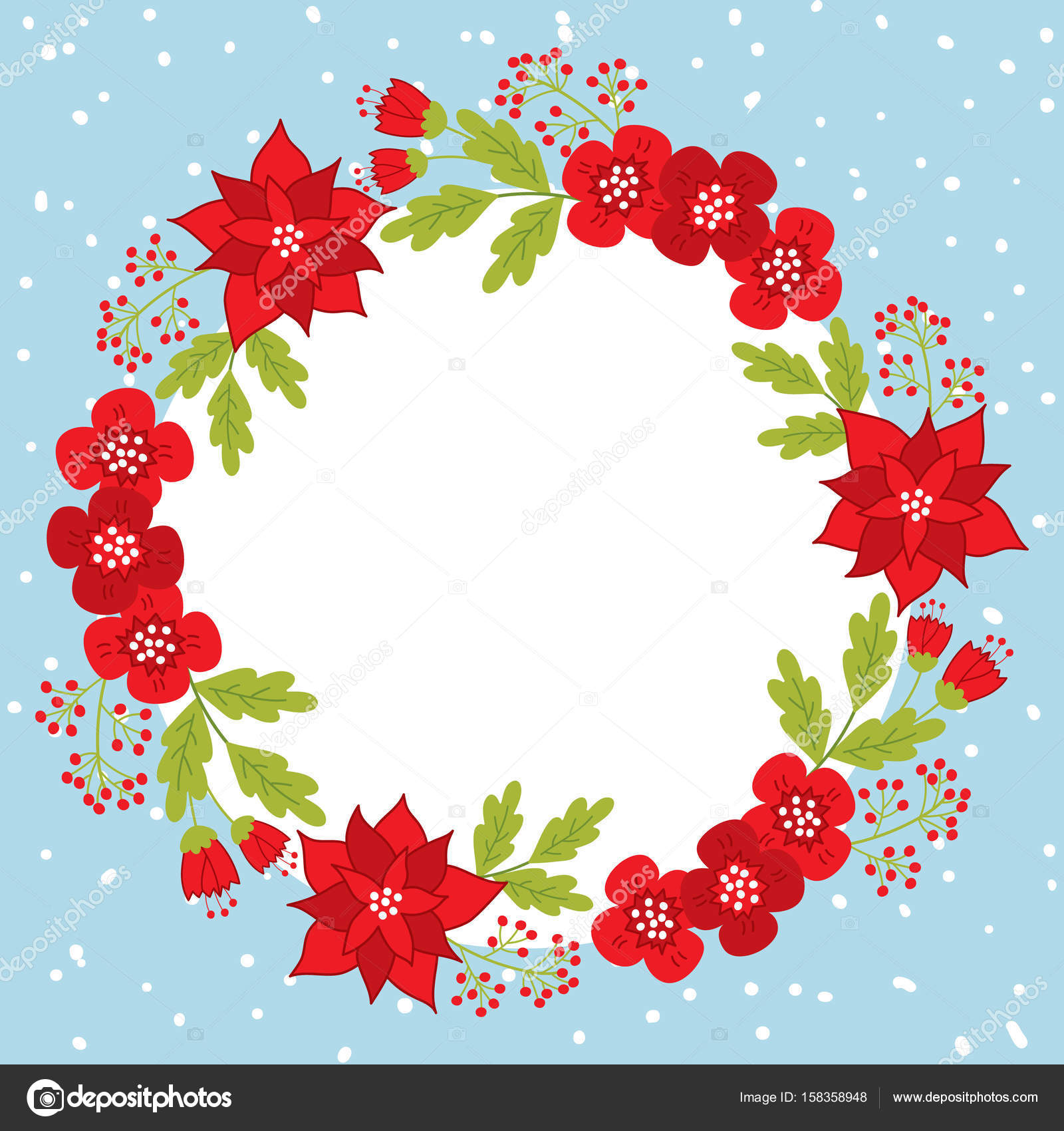 vector christmas and new year card template with wreath and poinsettia on snow background card