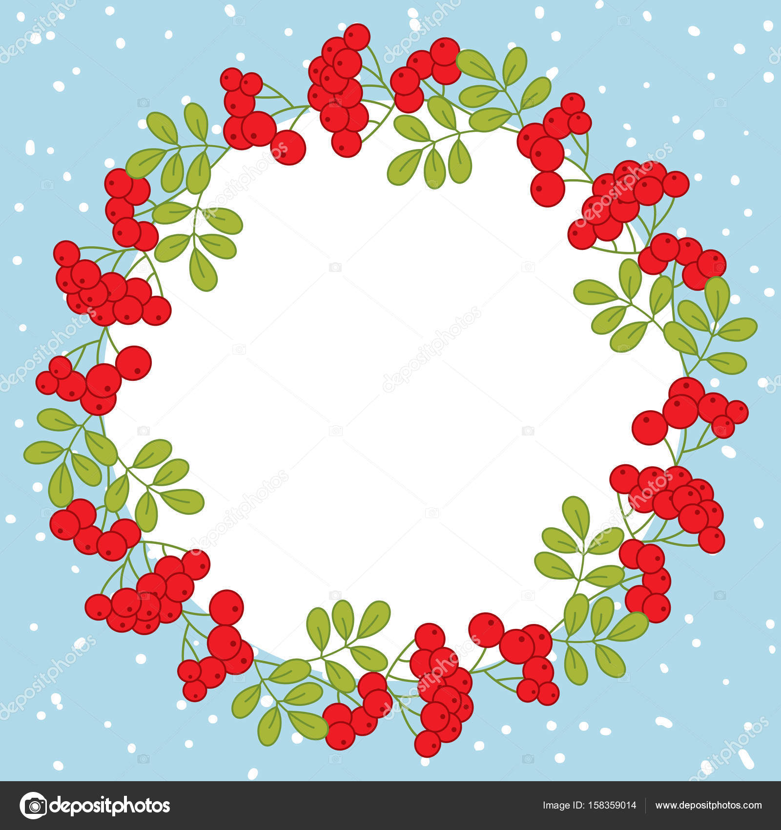 vector christmas and new year card template with wreath and red berries on snow background