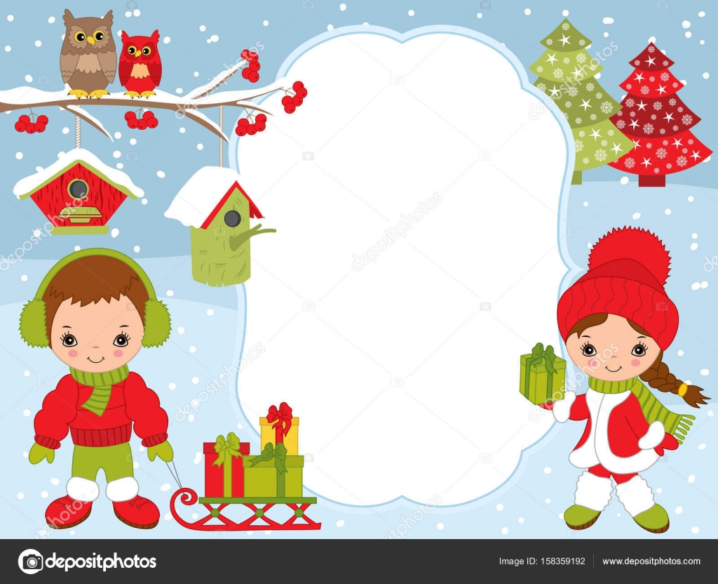 vector christmas and new year card template with cute little kids owls birdhouses and