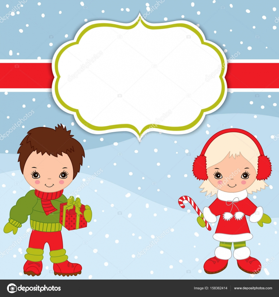 Vector Christmas And New Year Card Template With Cute Little Kids