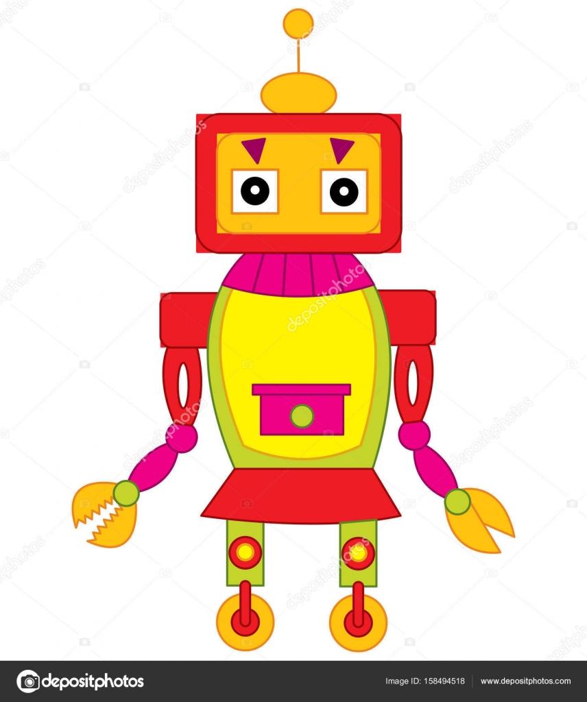 Vektor bunte niedliche Roboter. Roboter-Vektor-Illustration ...