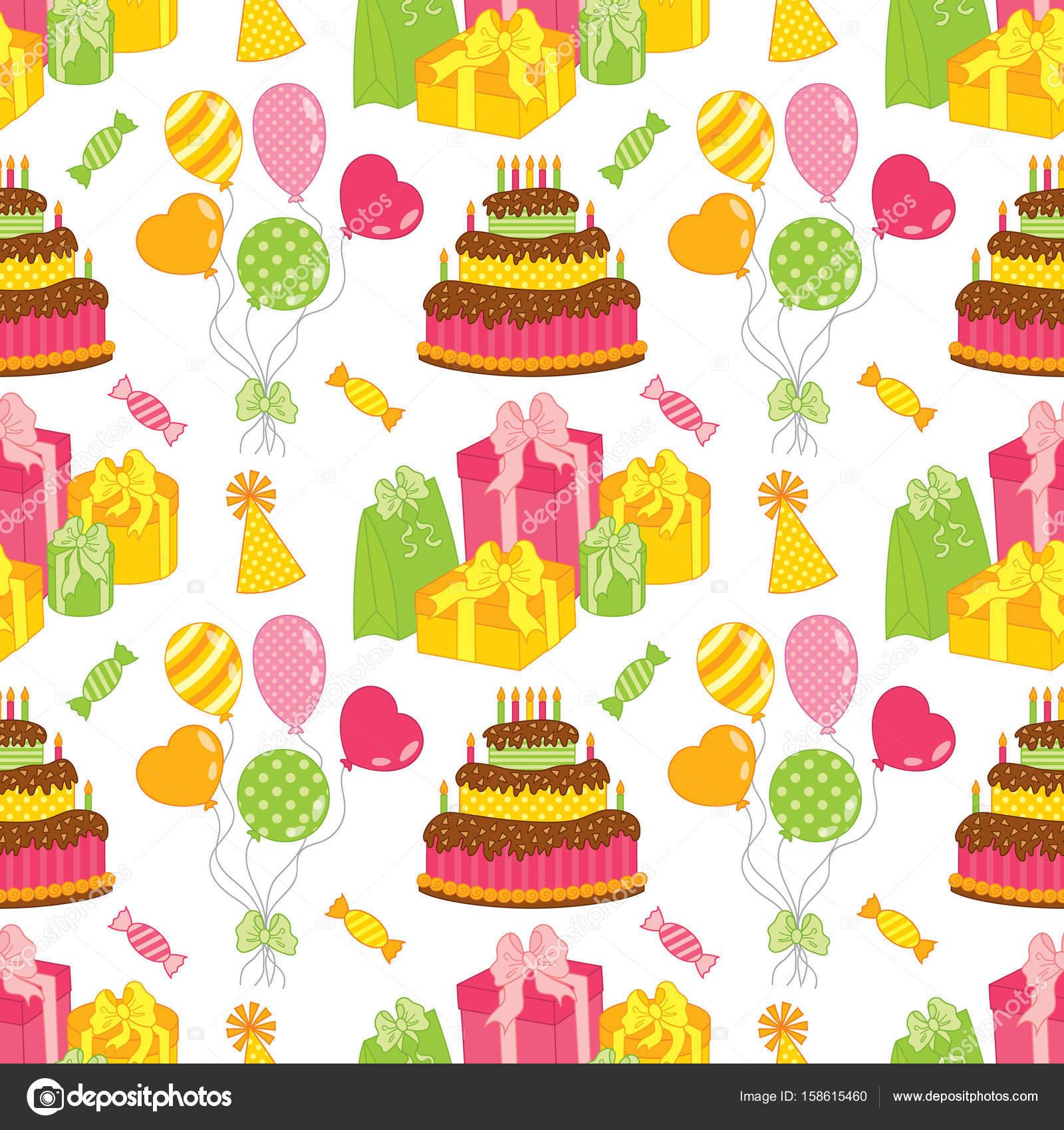 Vector patrón con torta, globos, dulces y cajas de regalo. De ...