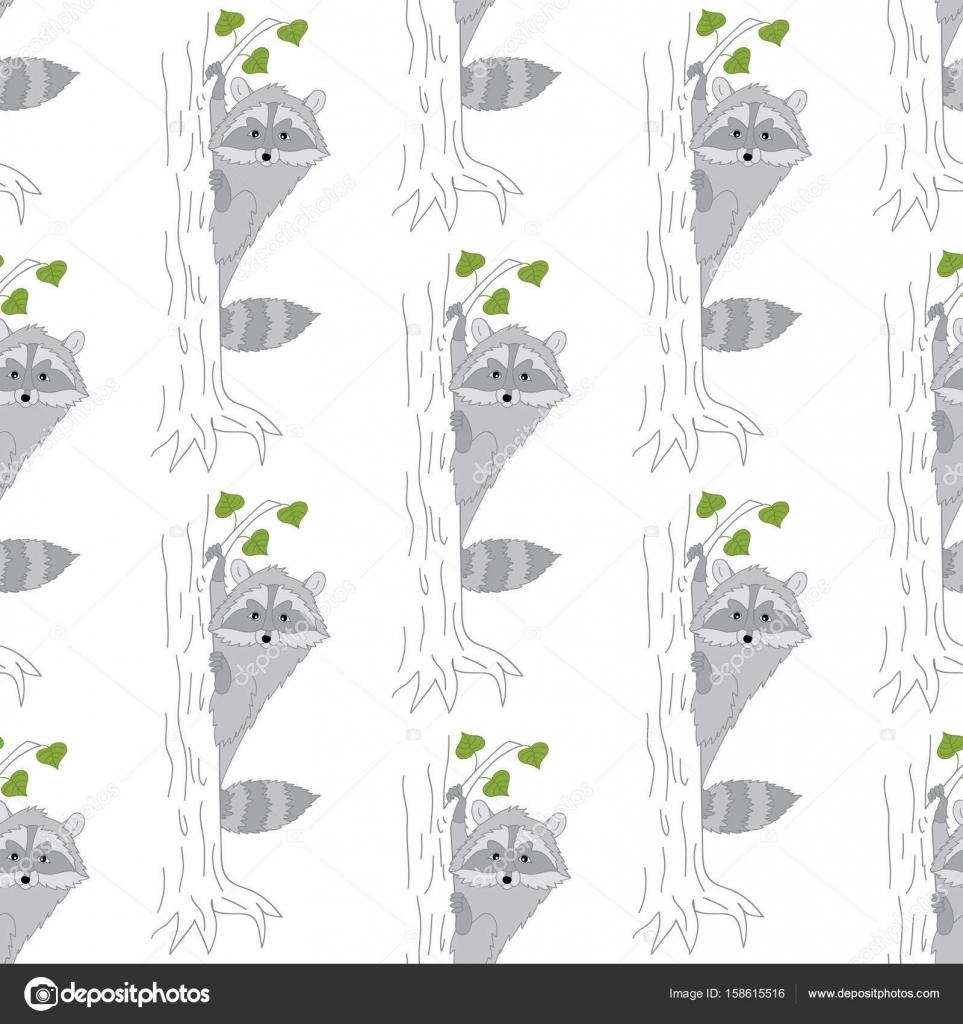 Vector patrón con lindos mapaches. Vectores bebé mapache ...