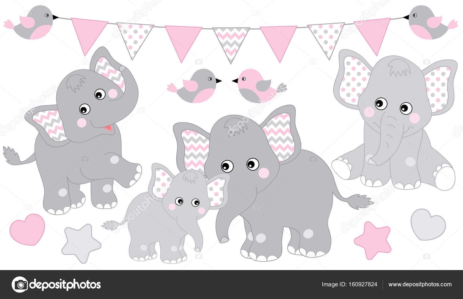 Juego De Elefantes Lindos Vector Ilustracion De Elefante Para Baby
