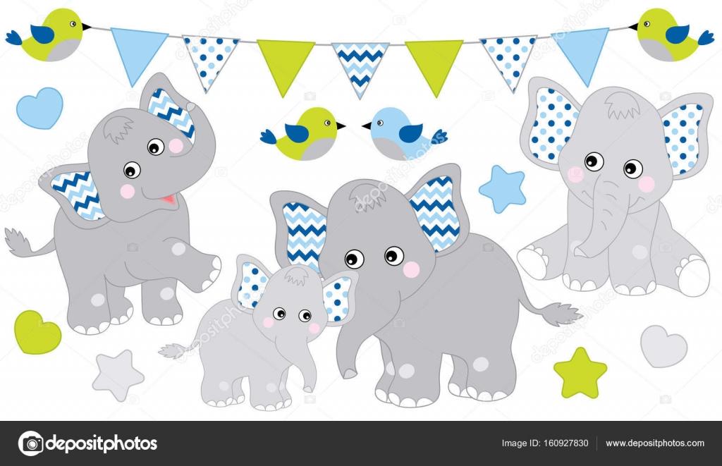 Schattig olifanten set vectorillustratie olifant voor - Fotos de elefantes bebes ...