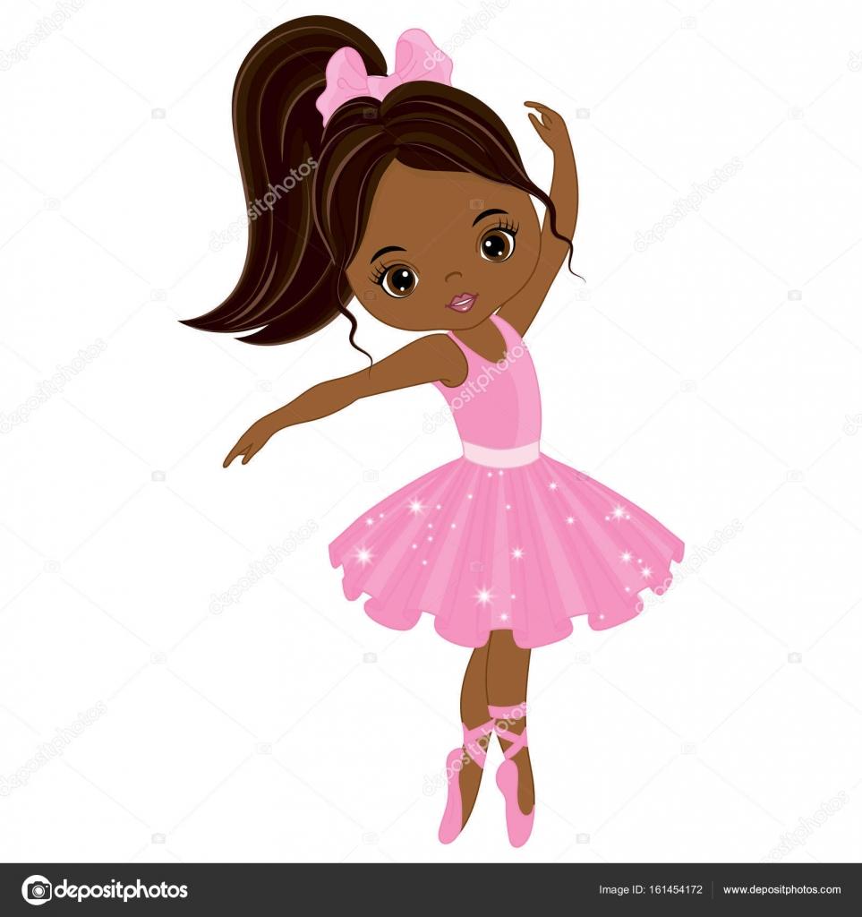 Download Vector Cute Little African American Ballerina Dancing ...