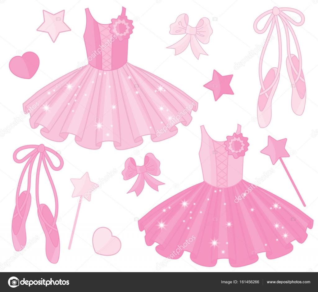 Conjunto de vectores con vestidos de tutú y zapatillas de Ballet ...