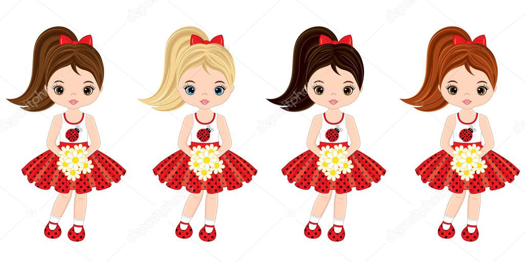 Vector Cute Little Girls with Various Hair Colors