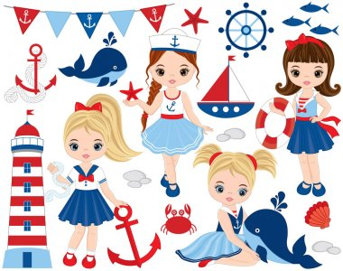 Vector Nautical Set with Cute Little Girls,  Whales, Lighthouse, Anchors and Crabs