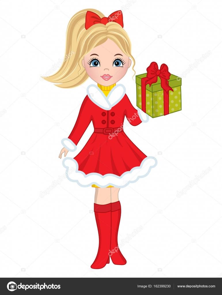 Schönes junge Mädchen mit Weihnachtsgeschenk Vektor — Stockvektor ...