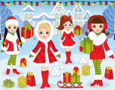 Vector Christmas and New Year Set with Beautiful Girls and Xmas Landscape