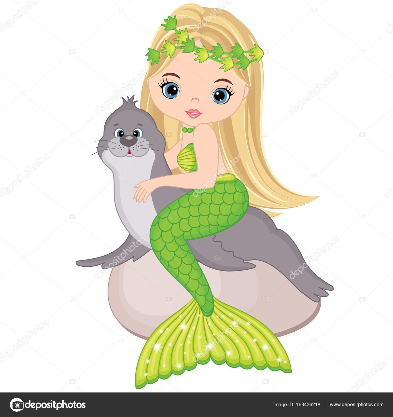 Vektor niedlich kleine Meerjungfrau mit Seebär — Stockvektor ...