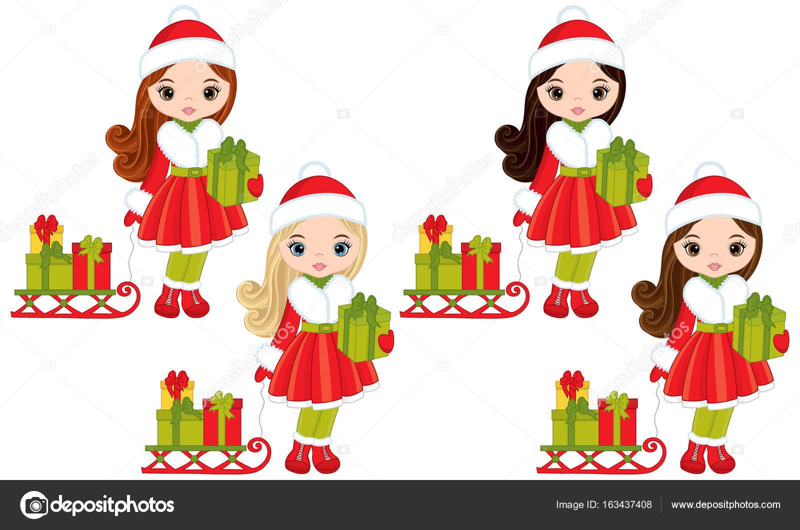Vektor-Mädchen mit Weihnachtsgeschenke und Schlitten — Stockvektor ...