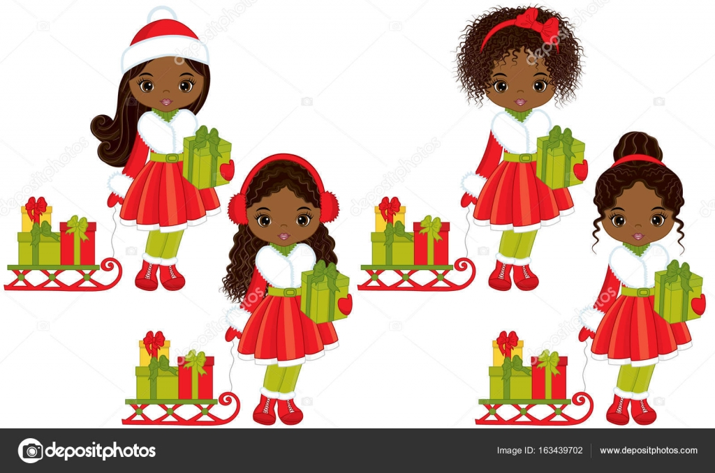 Vector cute little African American girls with Christmas gifts and sledges. Vector African American girls with various hairstyles. Christmas girls vector ...