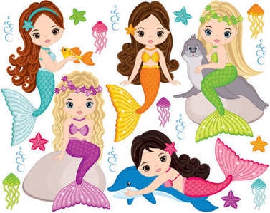Vector Cute Little Mermaids with Marine Animals. Vector Mermaids and Sea Animals