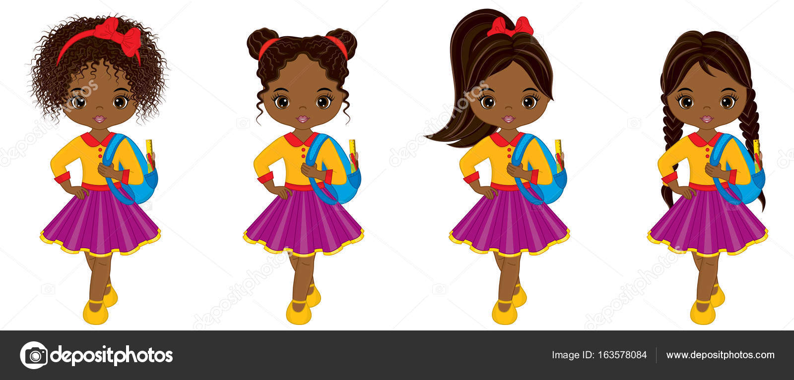 Cute little black girl hairstyles for school | Vector Cute ...