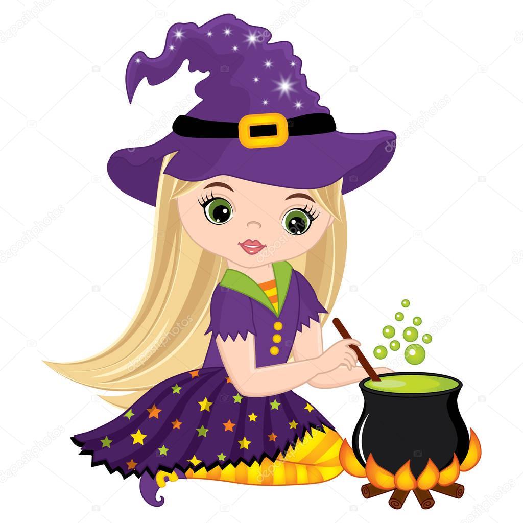 Vektor niedlich kleine hexe kochen im kessel zaubertrank stockvektor marlenes9 164342814 - Kawaii kochen ...