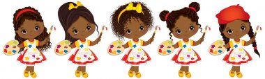 Vector cute Little African American Artists with Palettes and Paint Brushes Vector Little African American Girls