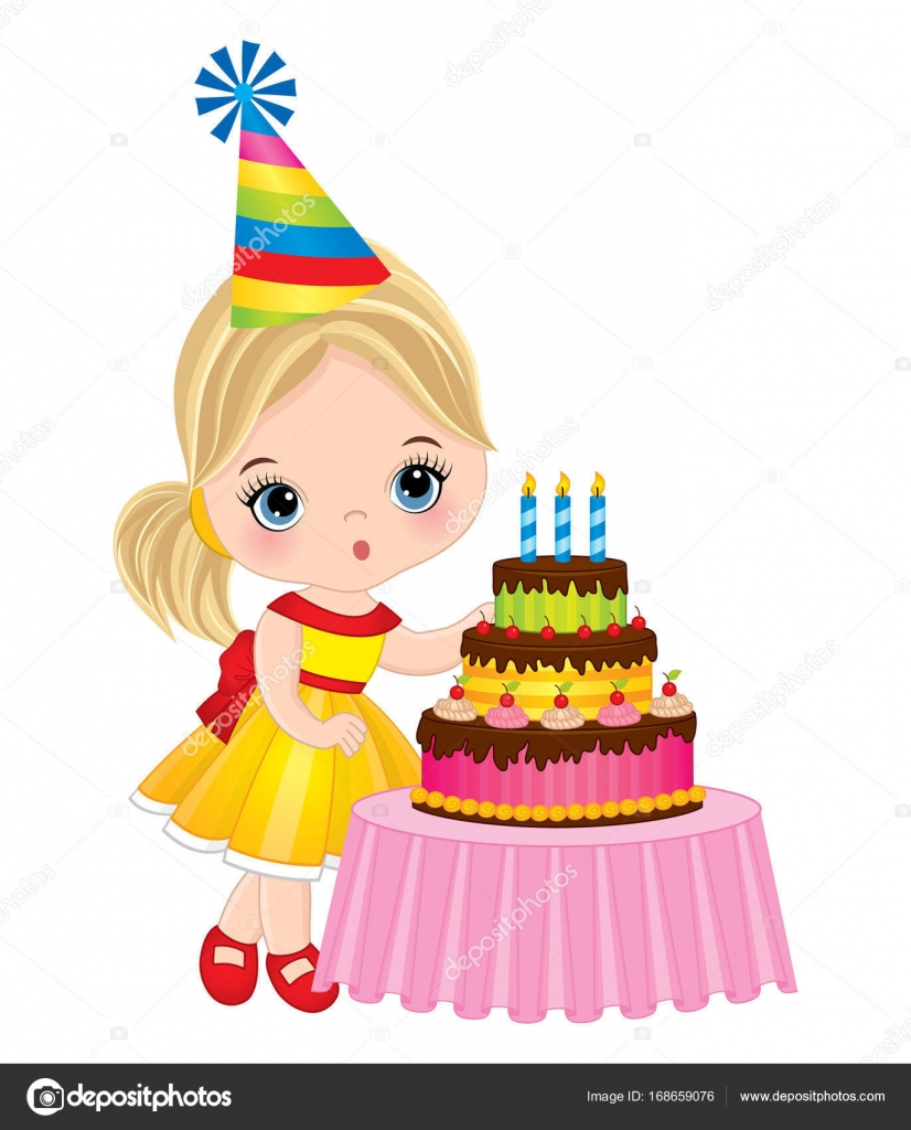 Vector Cute Little Girl Blowing out Candles on Birthday Cake Stock
