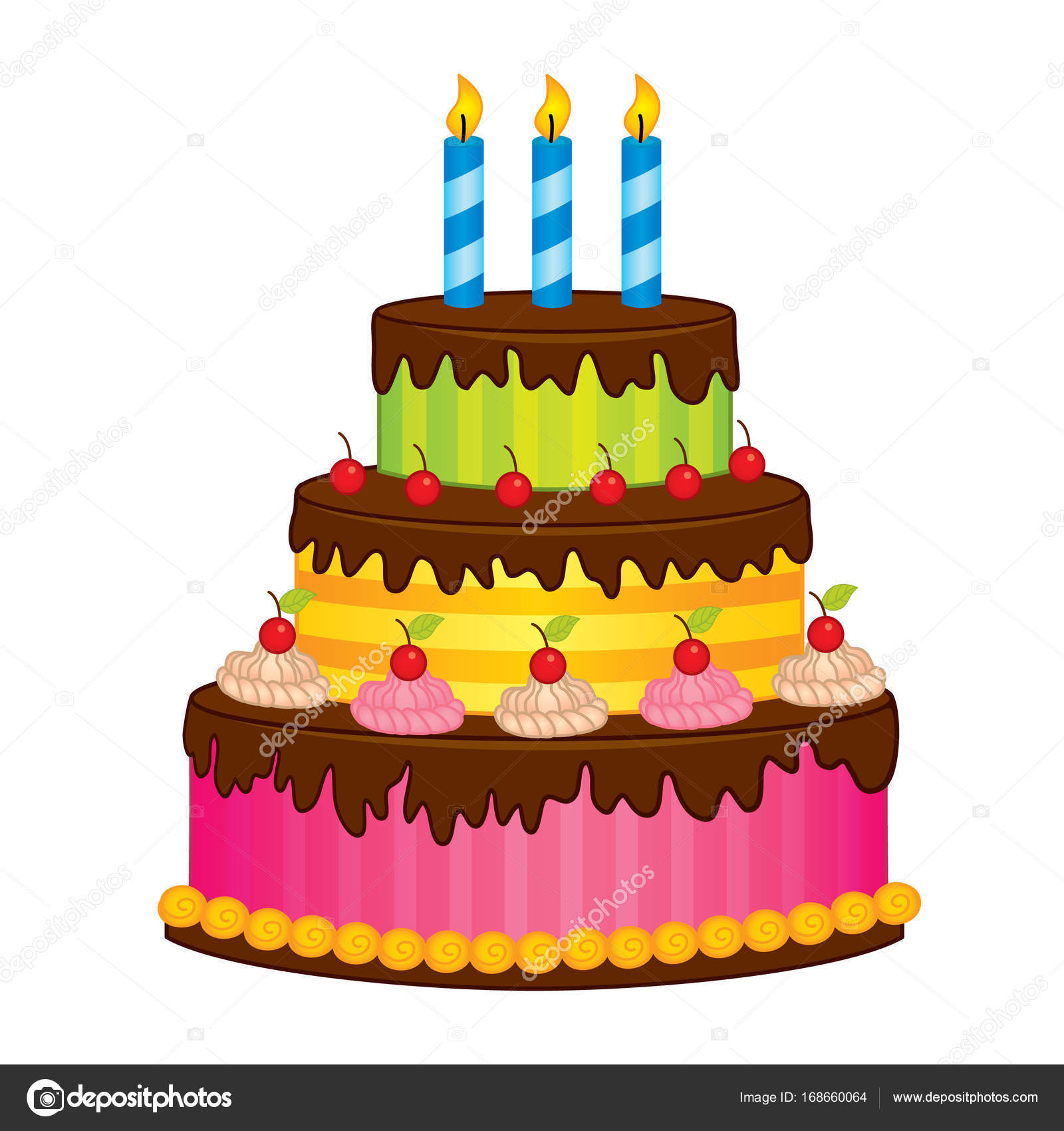Vector Birthday Cake with Candles Stock Vector marlenes9 168660064