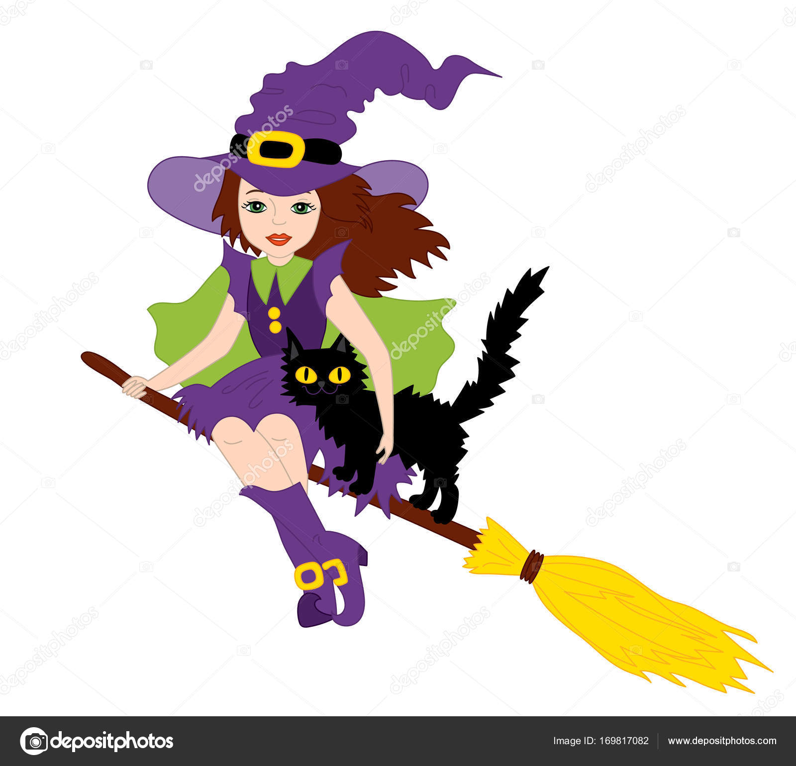 vector halloween witch with cat flying on broomstick — stock vector