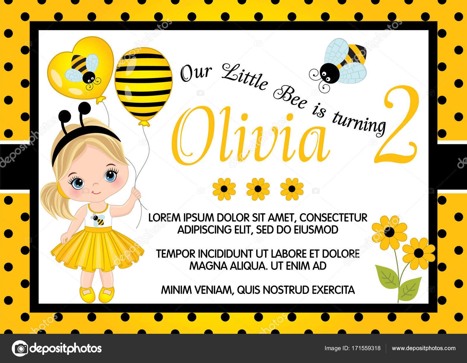 Vektor Geburtstag Kartenvorlage mit niedliche kleine Mädchen ...