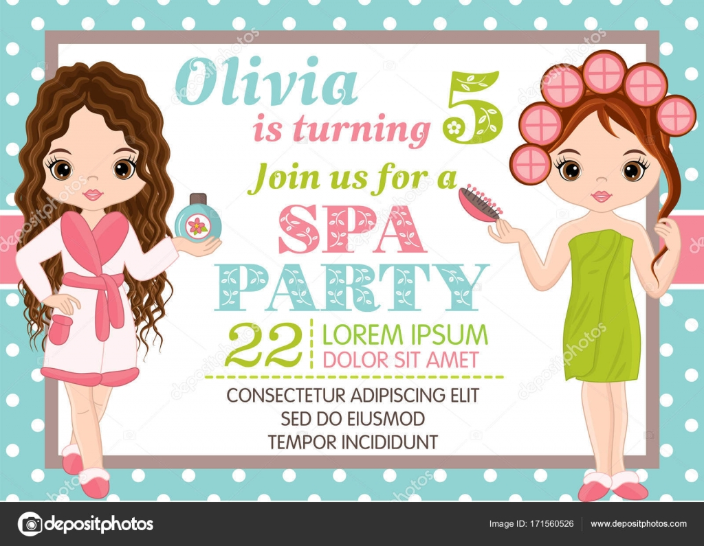 Vector Birthday Card Template With Cute Little Girls Stock