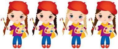 Vector Little Girls with Palette and Paint Brushes. Vector Little Artists