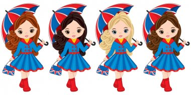 Vector Girls Holding Umbrellas and Handbags with British Flag Print