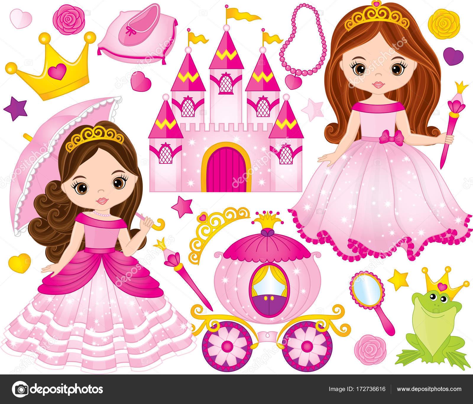 e456351c035 vector set van mooie prinses kasteel vervoer kikker kroon schoenen en  accessoires vector prinses prinses vector van marlenes with prinsessen  schoenen kind