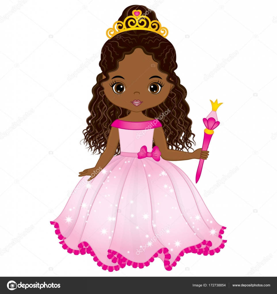 Vector Beautiful African American Princess In Pink Dress Stock