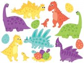 Fotografie Vector Set of Cute Cartoon Dinosaurs