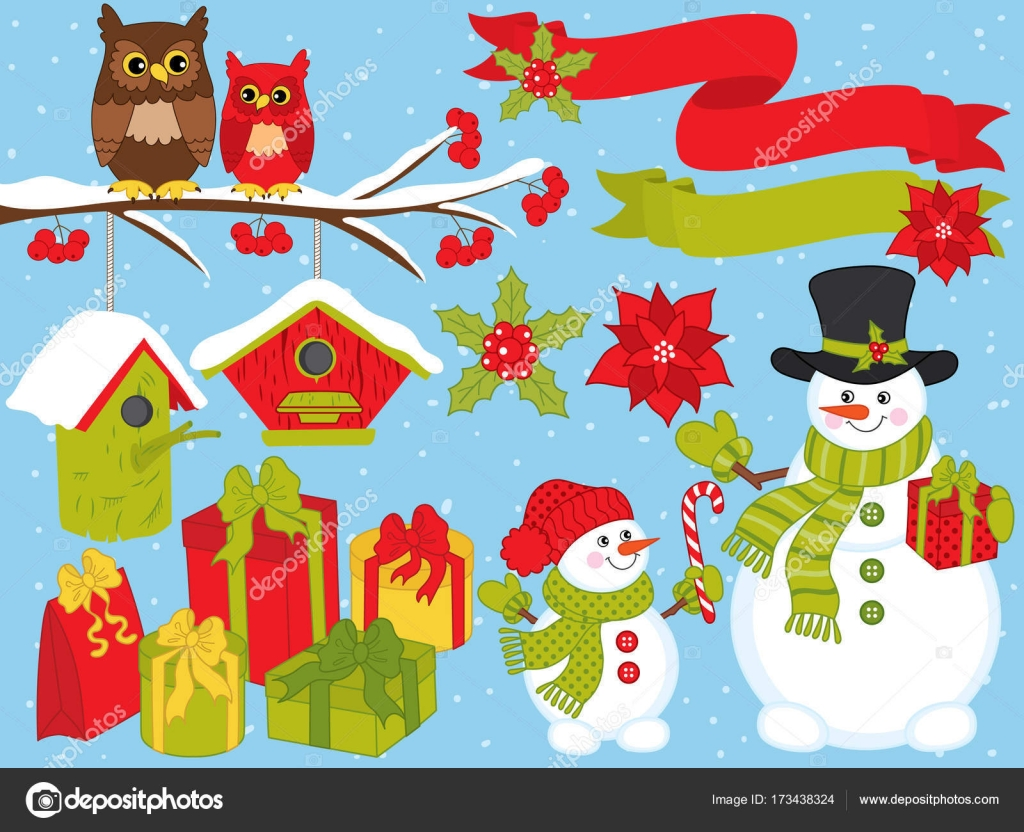 vector christmas and new year set with snowmen owls and festive winter elements stock