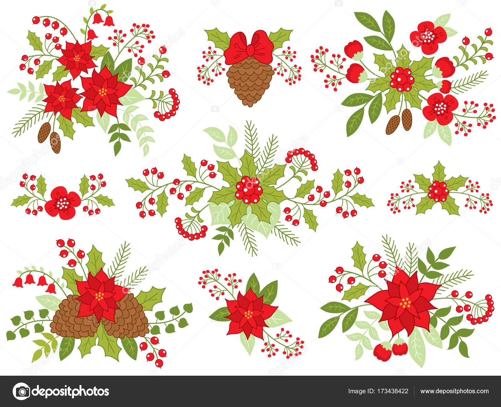 Vektor Weihnachten Blumensträuße mit Weihnachtsstern, Tannenzapfen ...
