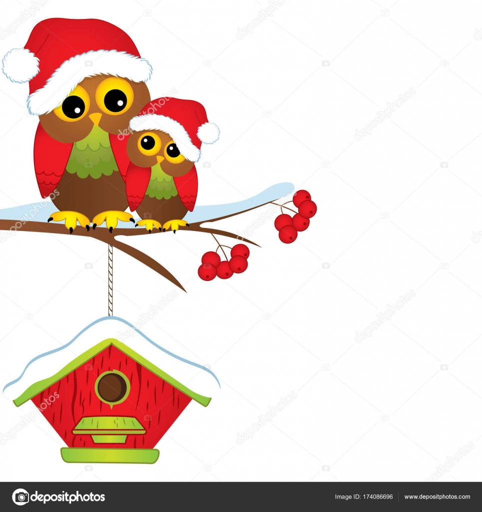 Vector Navidad Lindos Buhos En Gorros Rojos Sentada En La Rama De
