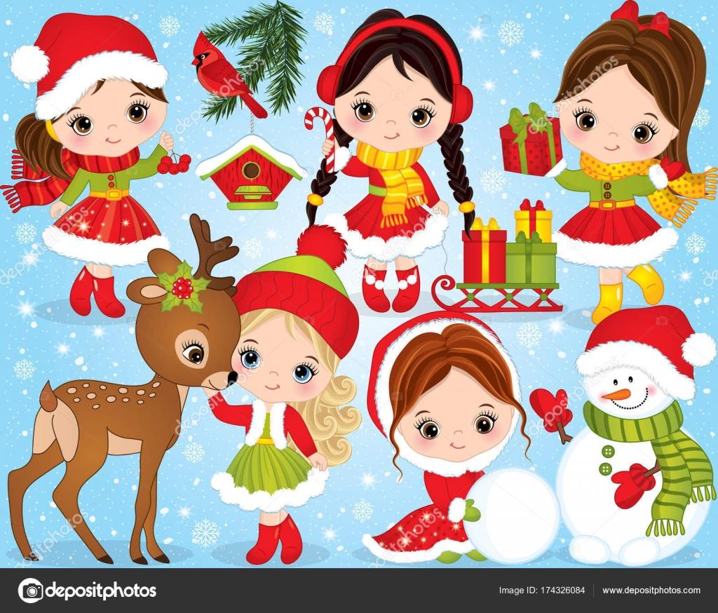 かわいい女の子と設定ベクトル クリスマスと新年と冬のお祭り要素