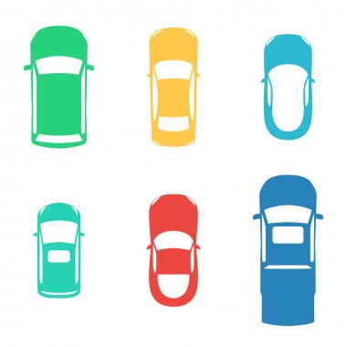 Silhouettes colored cars top view on white background. Vector illustration for print design wrapping paper, web background on your website and promotional materials stock vector
