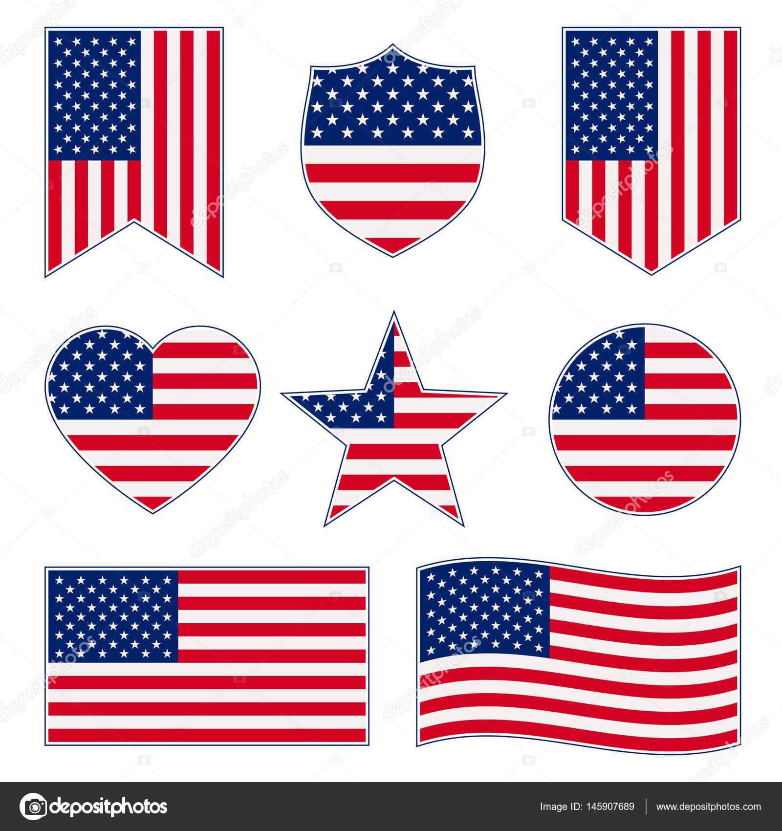 satz von amerikanischen flaggen — Stockvektor © EgudinKa #145907689