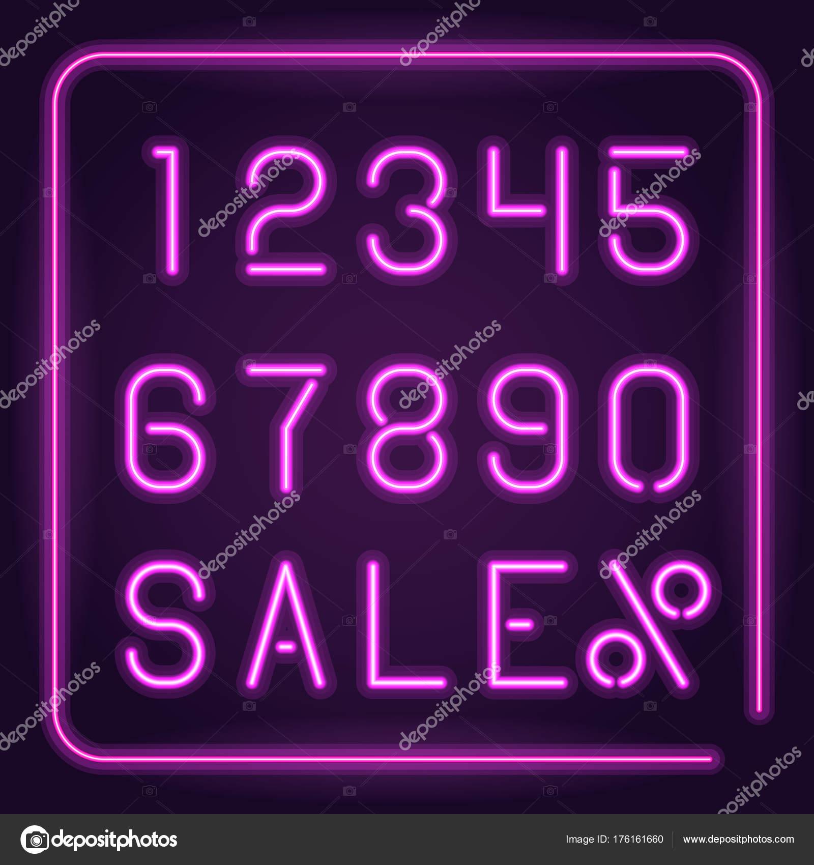 Números de neón brillante — Archivo Imágenes Vectoriales © EgudinKa ...