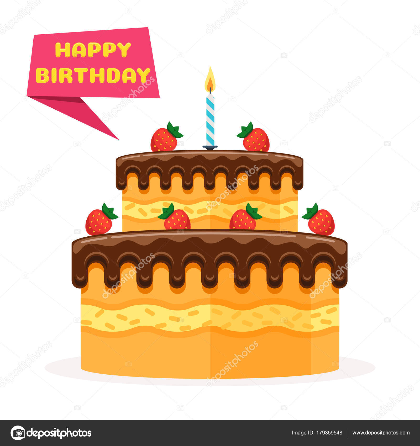 happy birthday banner and cake stock vector egudinka 179359548