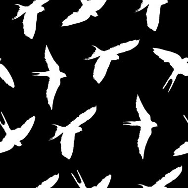 seamless pattern with birds silhouettes