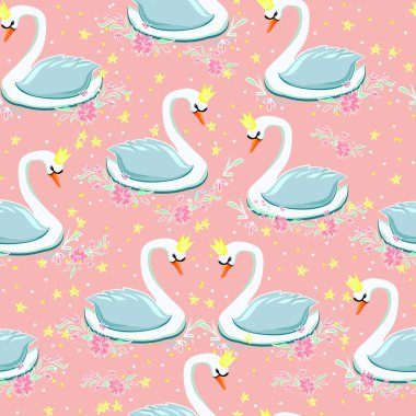 seamless sketch of swans