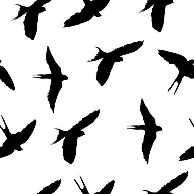 Seamless pattern with birds silhouettes on white background vector stock vector